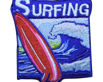 Surfing Patch - Waves and Surfboard (Iron on)