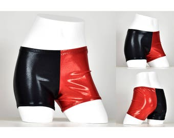 SAMPLE SALE: Size Small Black and Red Shiny Harley Quinn Shorts S hot pants cosplay costume metallic mystique short spandex vinyl look