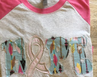 Breast Cancer Awareness , Hope For A Cure, Awarness Ribbon, Raggy Applique