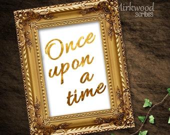 Once Upon A Time Wedding or Shower Sign |  5x7 Instant Download Printable Gift Table Sign |  Storybook Wedding Sign | Gold, Black, and Navy