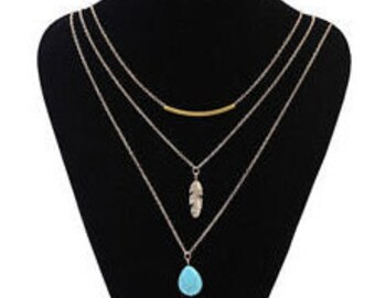 Turquise Choker Statement Bib Pendant chain  Necklace