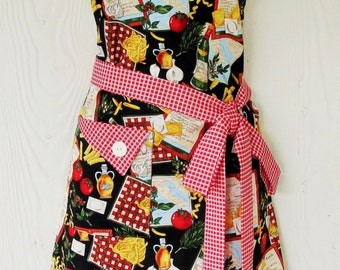 Retro Apron, Italian Cooking Apron, Women's Full Apron, Olive Oil, Pasta, Tomatoes, KitschNStyle
