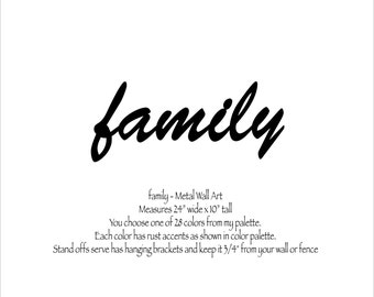 """family - metal sign wall art - 24"""" wide - choose your color with rust patina - metal wall art sign - family gathering sign living room sign"""