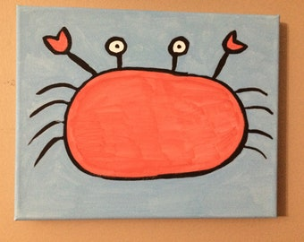 Crab original painting 8 x 10.  Great in any room.