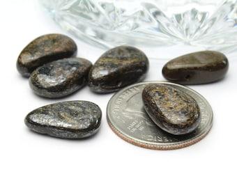Genuine Bronzite Flat Teardrop Shaped Beads 11x17mm 6pcs