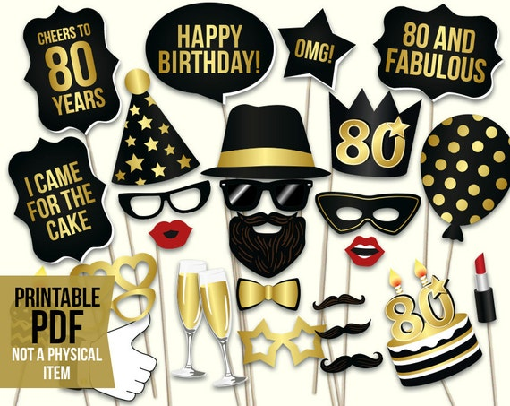 80th birthday photo booth props printable PDF Black and gold