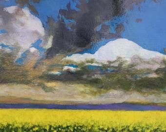 Mustard Field Original Acrylic Painting on Plywood Panel, Framed