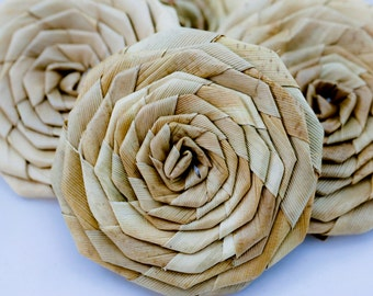 Lauhala roses 3 inches