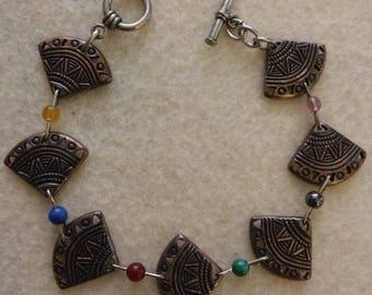 Silver Fan Link & Multi Colored Bead Bracelet