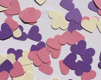 Pink, Purple and Ivory Heart Shaped Table Confetti, decor, parties, weddings, baby showers,