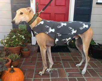 Greyhound Dog Coat, XL Dog Jacket, White Deer Heads on Gray Fleece with Black Fleece Lining