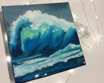 Mini Wave - 6x6 Original Acrylic, Resin, & Glitter Painting