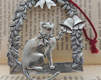 """Seagull Pewter 1986 """"Cat in the Window"""" Christmas Ornament"""
