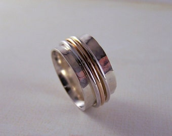Gold Sterling Silver Spinner Ring Wide Band Ring - Silver Handmade Fiddle Ring  - Meditation Ring SR102