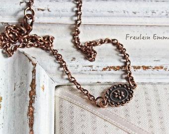 Chain Bloom copper Choke Boho vintage flower simple romantic copper color