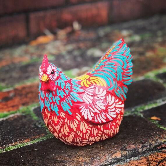 Huhn-Skulptur von hand bemalt Hahn Huhn Küche