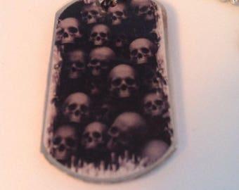 Skull Horror Handmade Dog Tag Necklace