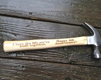 Engraved Hammer Anniversary Gift for Him - Personalized Hammer Gift For Him Wedding Gift Anniversary Gift For Husband