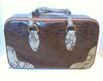 Vintage Brown Vinyl Imitation Snakeskin Overnignt Carry On Bag Travel Luggage