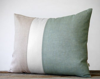 Color Block Pillow (16x20) Sage, Cream and Natural Linen   Spring Home Decor   Nautical Striped Trio (more colors)   Hemlock