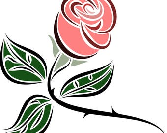 Stylized Rose Clipart in SVG, EPS, PNG