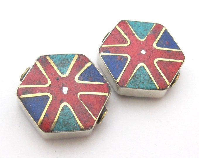 2 BEADS - Hexagonal wheel chakra design Tibetan turquoise coral inlaid brass beads from Nepal - BD481A