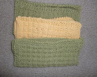 3 Hand knit 100% cotton Dishcloths/FaceCloths in sage green, yellow, sage green.
