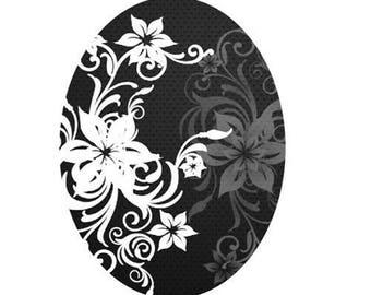 white flowers black background, 30x40mm