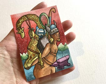 Demon giraffe anvil tennis clock wall art miniature art ATC Gift Art Trading Card Whimsical - Original ART ACEO Watercolor - Katie Hone