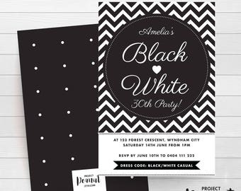 Black and White - Thirty Birthday - Adult Party - Monochrome Invite - Adult Birthday - Birthday Invitation - Thirty - Party Printables