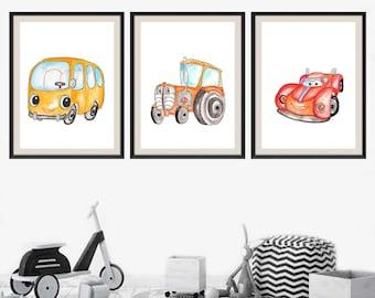 Baby Nursery Art-Transportation Wall Art- Transportation Nursery Art-Transportation Room Decor- Kids Wall Decor-Set of 3 Prints