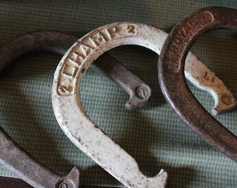 Horseshoe Three Horseshoes by Royal and Champs Set of three - Vintage- Outdoor Game- Lucky horseshoe