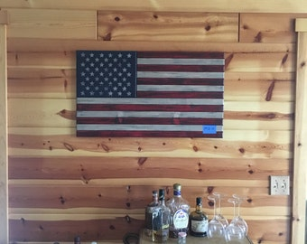 Rustic Wooden American Flag - Medium/Dark