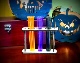 Plastic Test Tubes and Wood Holder Mad Scientist Lab  Halloween Decorations Halloween Props