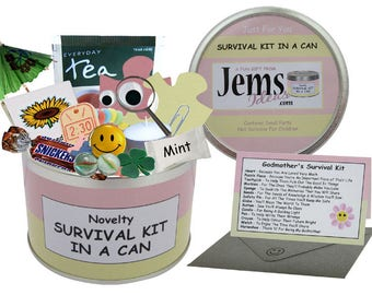 Godmother Survival Kit In A Can. Fun Gift & Card Thank You/Christening/Baptism/Naming Day/Godson/Goddaughter/Godparent CHOOSE OTHER COLOURS
