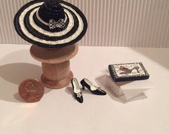 Dollhouse Miniature Hat and Shoes
