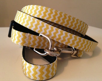 5/8 inch Chevron Leash and Collar Set in Yellow, Blue, Black or Gray