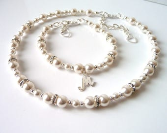 Girls Necklace and Bracelet, Flower Girl Jewelry Set, Flower Girl Gift, Pearl Necklace Bracelet Set, Flower Girl Bracelet Personalized