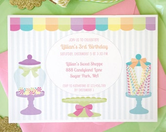 Candy shoppe invitation, sweet shop birthday, candy shop birthday party, girls birthday party, 1st birthday invitation, candy land party