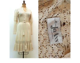 70s Boho Wedding Dress Medium