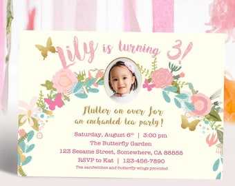 Pink and Gold Butterfly Garden Tea Party Photo Printable Invitation DIY