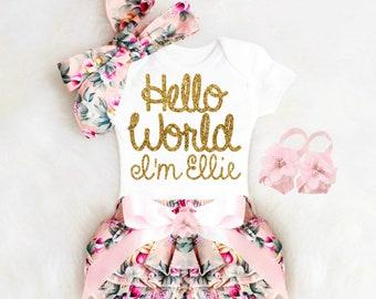 Baby Girl Gift Baby Shower Gift Girl Personalized Baby Girl Outfit  Personalized Floral Bloomers Baby Bloomers