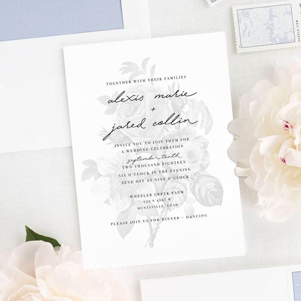 Vintage Floral Watermark Wedding Invitation