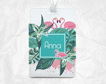 Two Flamingos Personalised Luggage Tag Travel Tag Bag Tag