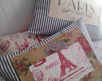French Country Paris Pillow Black and White Ticking