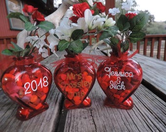 GLASS HEART VASES - Personalized, Customized!  Fill with candy hearts and flowers for a great Valentine's Day or wedding gift and keepssake