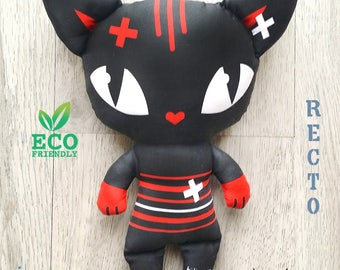 """Little black and red cat doll """"DJO"""" the intrepid daredevil / cuddly kitten Ecological toy in 100% organic cotton fabric, double sided"""