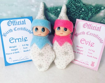 Baby Elf Doll Twins Shelf Sitters Ernie and Evie