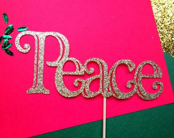 Peace cake topper, Christmas cake topper, Christmas party decorations, Holiday decorations, happy holidays, holiday cake topper, Peace