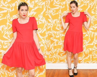 Red Babydoll Dress // Simple Knit Dress // 80s Puffy Sleeve Loose Fit Playful Pleated Scoop Neck Size Medium Large